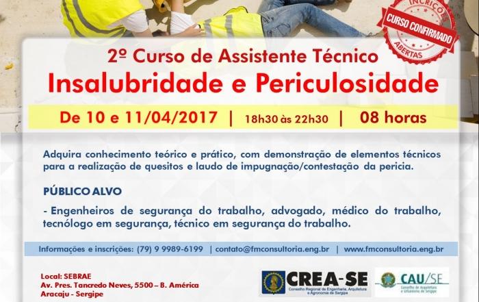 2º Curso de Assistente Técnico Insalubridade e Periculosidade aracaju
